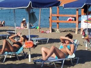 In spiaggia a Faliraki