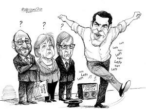 karikatur für tribüne- skeptische blicke